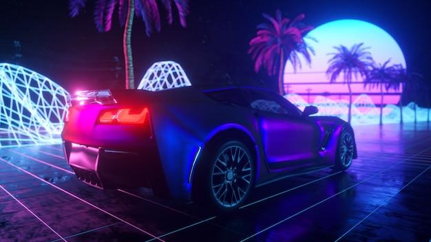 Passeio de carro futurista através do espaço abstrato de néon.