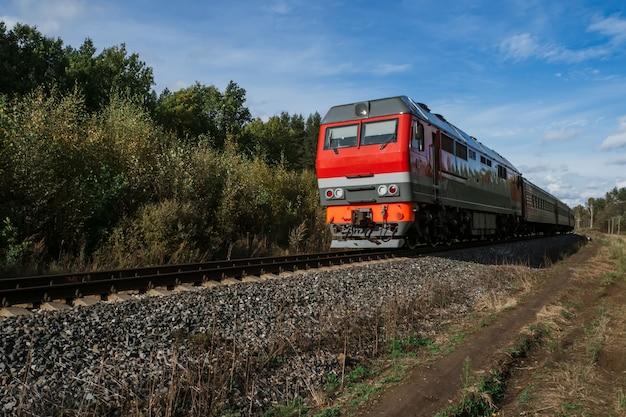 Passeios de trem velho vermelho por via férrea entre a floresta no verão