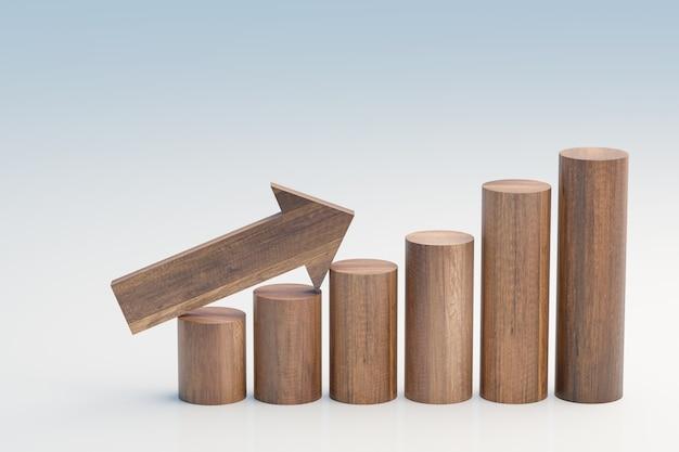 Passo de crescimento e gráfico de investimento por blocos de madeira, renderização de ilustrações 3d