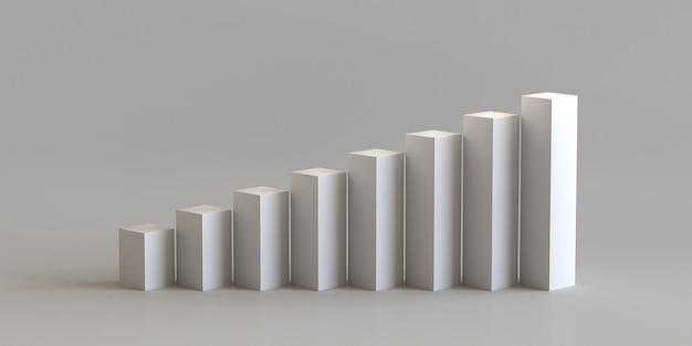 Passo de pódio de cubo branco sobre fundo de parede em branco