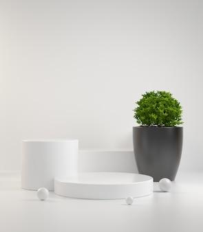 Passo de pódio moderno mínimo limpo branco com planta verde abstrata