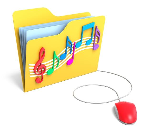 Pasta amarela com notas musicais com mouse de computador