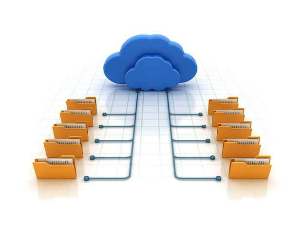 Pasta de computador com computação em nuvem