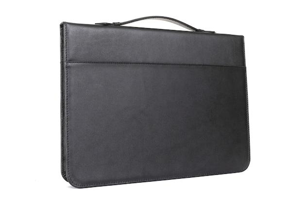 Pasta de couro preta elegante para documentos de empresário.