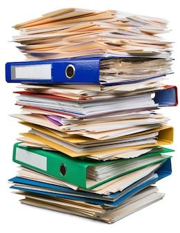 Pastas de arquivos com documentos, visualização em close-up