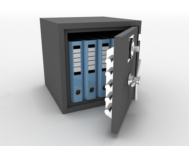 Pastas de escritório em um cofre de metal aberto. ilustração renderizada 3d