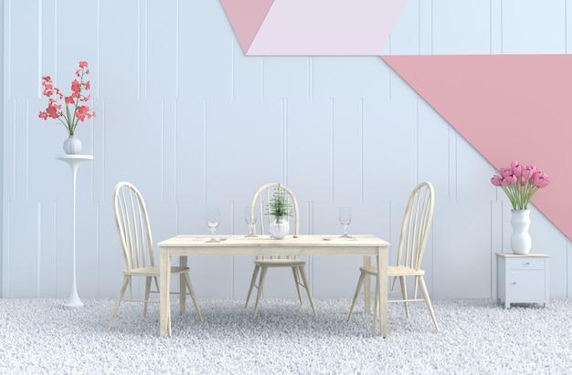 Pastel comendo sala de decoração cadeira e mesa, flor, garfo, colher, copo de vinho, orquídea, tulipa, tapete. 3d