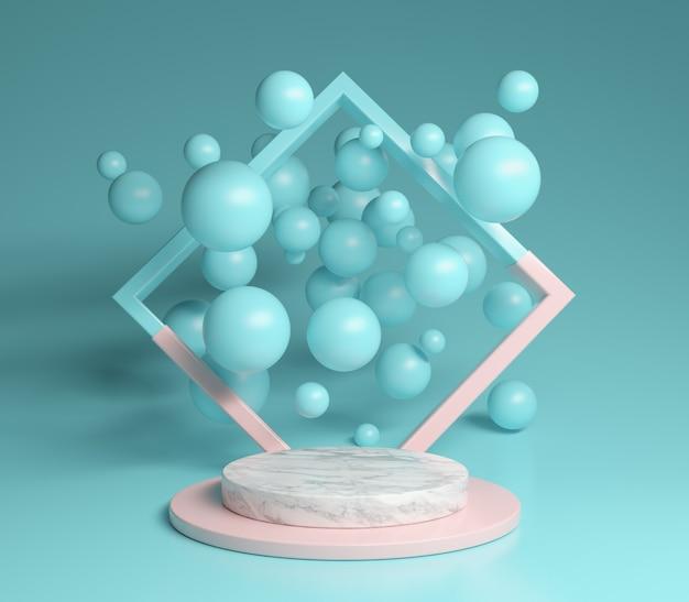 Pastel do pódio e mármore com bolhas do quadro 3d rendem