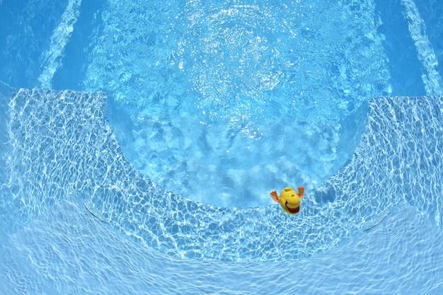 Pato de borracha amarela. pato de borracha amarela na piscina doméstica no verão