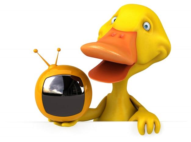 Pato divertido com tv retrô