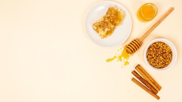 Pau de canela; favo de mel; pote de mel e pólen de abelha com pano de fundo de espaço de cópia