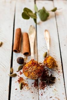 Paus de canela e colher com especiarias indianas