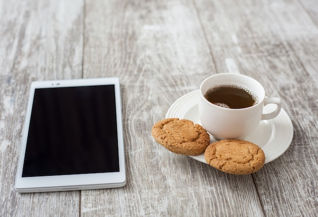 Pausa para o café. café com lanche