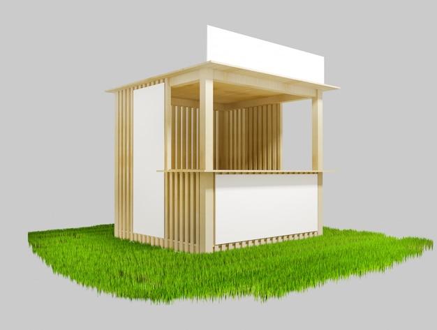 Pavilhão de madeira com espaço para publicidade, ilustração 3d