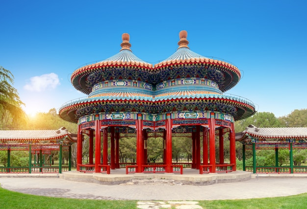 Pavilhão shuanghuan no parque tiantan