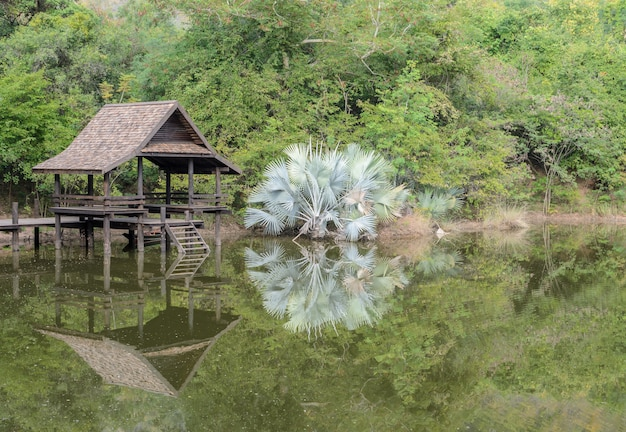 Pavilhão tailandês no parque com reflexão