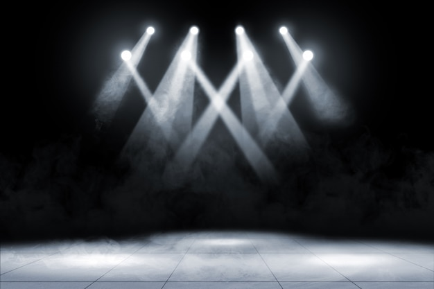 Pavimento em ladrilho com iluminação e fumo no local de concertos