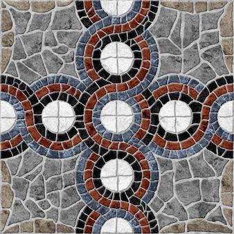 Pavimento em ladrilhos decorativos de pedra. textura de fundo de pedra natural colorida.