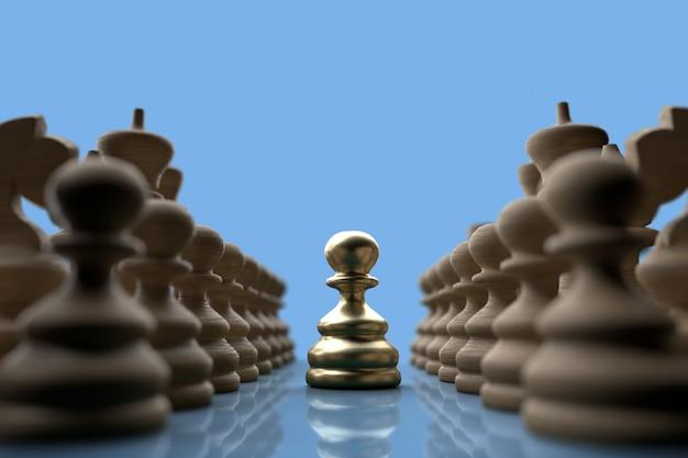 Peão de liderança em ouro 3d no tabuleiro de xadrez