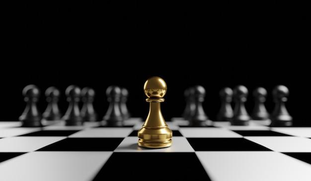 Peão de ouro do xadrez único pense diferente individual e se destaque do conceito da multidão