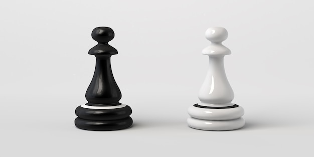 Peão de xadrez preto e branco frente a frente. isolado em um fundo branco.