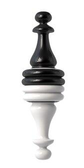 Peão de xadrez preto e branco virado de cabeça para baixo. isolado em um fundo branco. ilustração 3d.