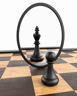 Peão do xadrez olhando no espelho e vendo o rei. conceito de autoaperfeiçoamento, atingindo seus objetivos e motivação. render 3d.