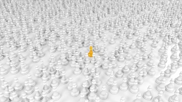 Peão dourado fica entre uma enorme multidão de peões brancos na ilustração 3d