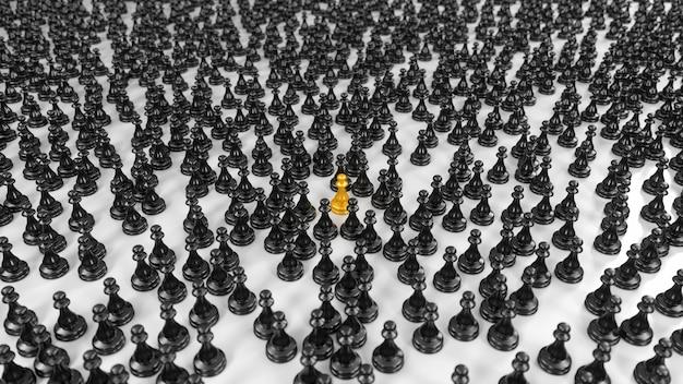 Peão dourado fica entre uma enorme multidão de peões pretos na ilustração 3d