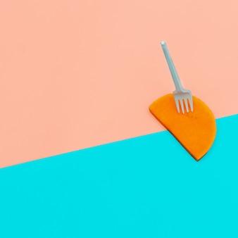 Peça de abóbora vegana estilo minimalista de arte