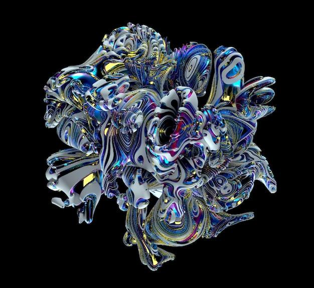 Peça de arte abstrata de escultura surreal em forma cúbica em forma orgânica