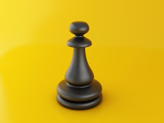 Peça de xadrez 3d em amarelo