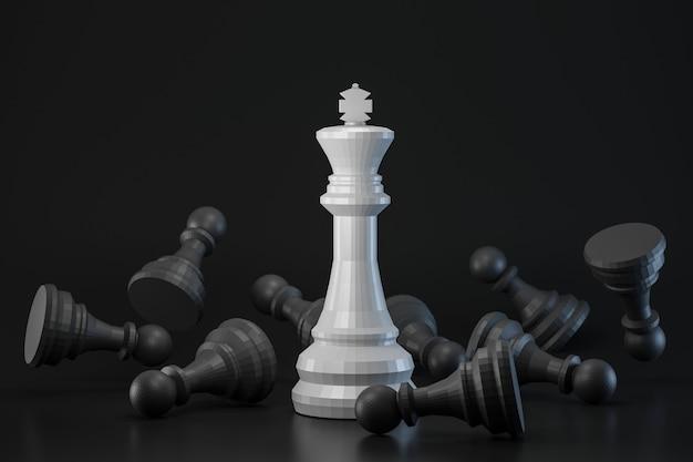 Peça de xadrez preto e branco na parede escura com estratégia ou conceito diferente. rei das idéias de xadrez e contraste. renderização em 3d.
