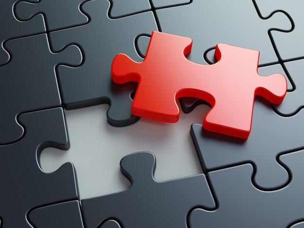 Peça do quebra-cabeça ausente. conceito de criatividade, trabalho em equipe e solução de negócios.