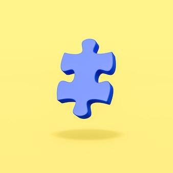 Peça do quebra-cabeça azul sobre fundo amarelo