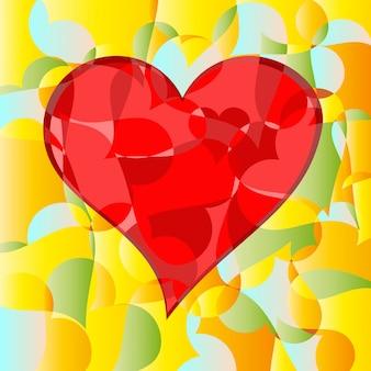 Peças abstratas de coração e paixão