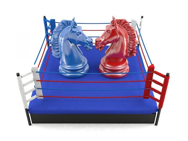 Peças de cavaleiro de xadrez confrontando no ringue de boxe