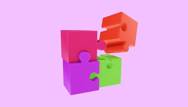 Peças de quebra-cabeça 3d. resolução de problemas, conceito de negócio. ilustração 3d