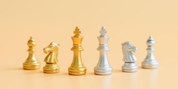 Peças de xadrez de ouro e prata