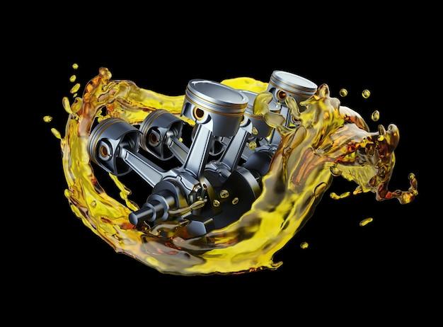 Peças no motor do carro com óleo lubrificante na reparação