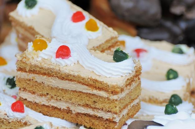 Pedaço de bolo close up