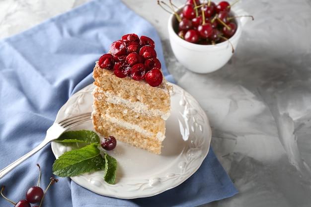 Pedaço de bolo decorado com cerejas no prato