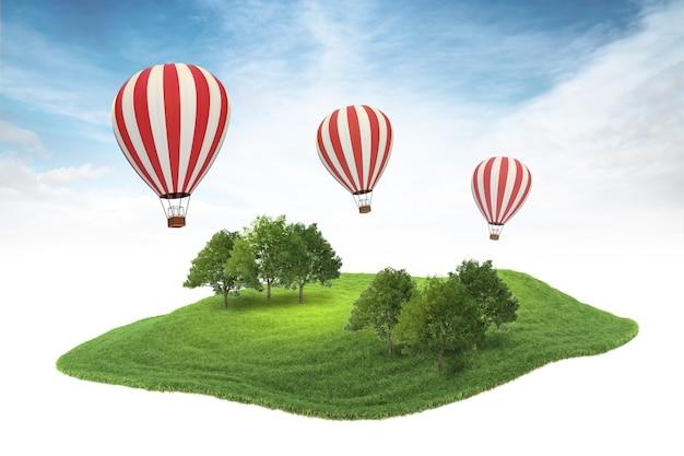 Pedaço de ilha de terra com floresta e balões de ar quente flutuando no ar no fundo do céu
