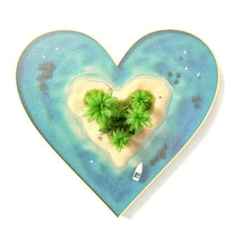 Pedaço de ilha tropical com água e palmeiras na praia em forma de coração