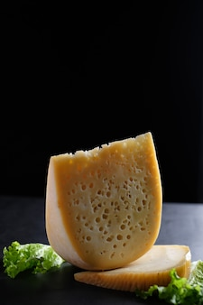 Pedaço de queijo com planta verde por baixo
