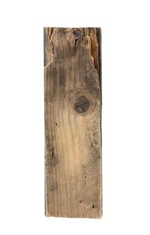 Pedaço de velha placa de madeira cinza isolado no fundo branco, close-up