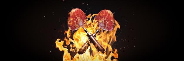 Pedaços de carne voando sobre a grade da grelha renderização em 3d