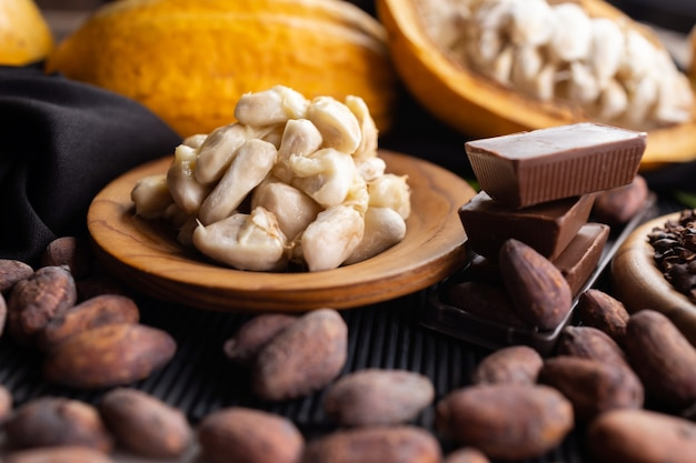 Pedaços de chocolate amargo esmagados e grãos de cacau, vista de cima