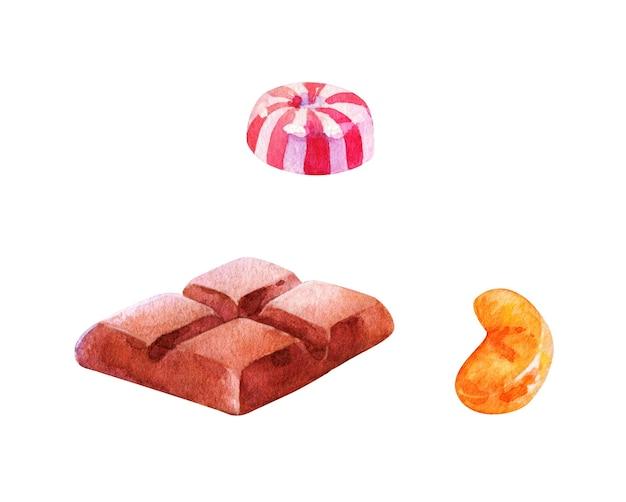 Pedaços de chocolate e doces desenhados à mão em aquarela sobre fundo branco