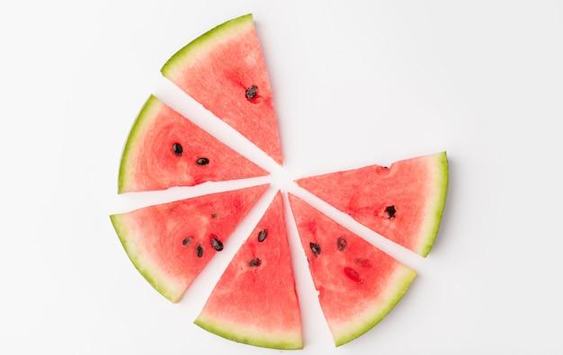 Pedaços de melancia em círculo